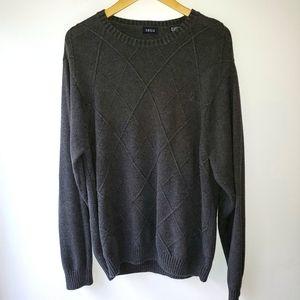 IZOD Dark Grey Crewneck Sweater Argyle Pattern XL